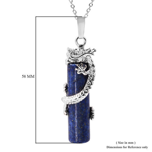 Lapis Lazuli Dragon Pendant with 24 Inch Chain 49.00 Ct.