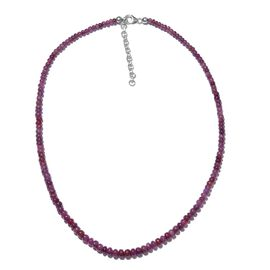 73.60 Ct Mozambique Ruby Beaded Necklace in Platinum Plated Silver 18 with 2 Inch Extender
