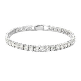 ELANZA Swiss Star Cut Cubic Zirconia  (Rnd) Bracelet (Size 7) in Rhodium Overlay Sterling Silver, Si