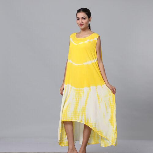 Tie & Dye Umbrella Dress in Yellow and White (Size upto 18)