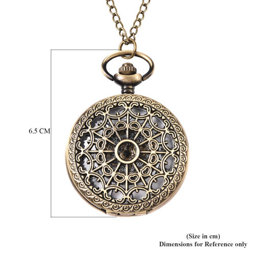 GENOA Automatic Mechanical Hollow-Out Pattern Pocket Watch with Chain in Antique Bronze Tone