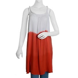 Plaited Strap Coral & White Colour Summer Dress