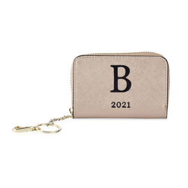 Genuine Leather Alphabet B Wallet with Engraved Message on Back Side (Size 11X7.5X2.5 Cm) - Gold
