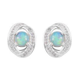 1.50 Carat Ethiopian Opal and Cambodian Zircon Halo Stud Earrings in Sterling Silver 4.4 Grams