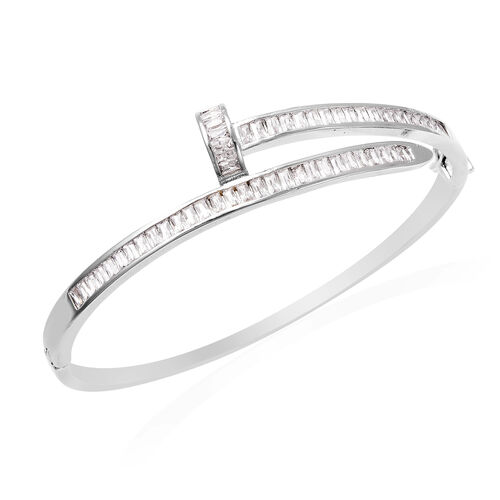 Simulated Diamond Nail Bangle (Size 7) in White Gold Tone