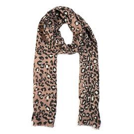 100% Merino Wool Leopard Pattern Scarf (Size 70x180 Cm) - Taupe
