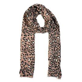 100% Merino Wool Leopard Pattern Scarf (Size 70x180 Cm) - Taupe