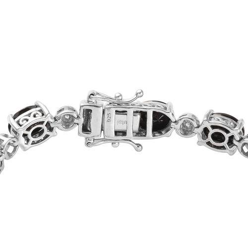 Elite Shungite (Ovl), Natural Cambodian Zircon Bracelet (Size 7.5) in Platinum Overlay Sterling Silver 11.250 Ct., Silver wt. 14.28 Gms
