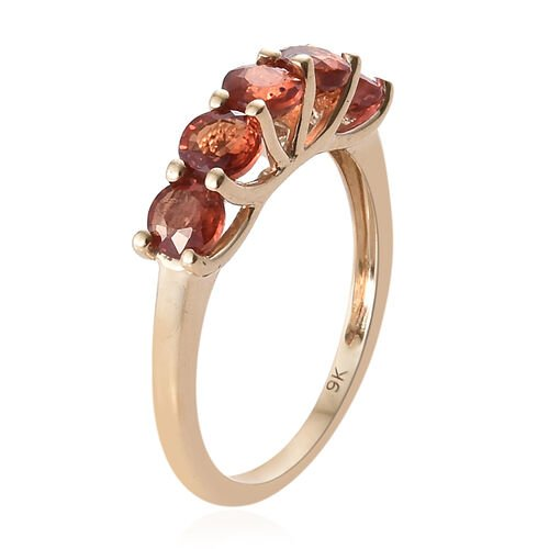 9K Yellow Gold AAA Sunset Sapphire (Rnd) Five Stone Ring 1.750 Ct.