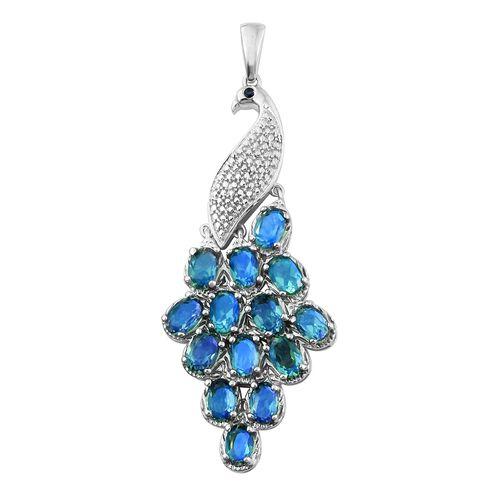 Designer Inspired-Peacock Quartz (Ovl), Kanchanaburi Blue Sapphire Peacock Pendant in Platinum Overlay Sterling Silver 6.500 Ct. Silver wt 8.19 Gms.
