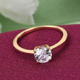 J Francis - 14K Gold Overlay Sterling Silver Solitaire Ring Made with SWAROVSKI ZIRCONIA 1.500 Ct.