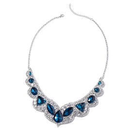 Simulated Blue Spinel and White Austrain Crystal Necklace (Size 20 with 2.5 inch Extender) in Silver