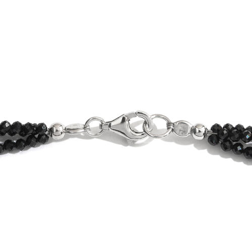 Super Auction- Show Stopper Collection- Diamond Cut Boi Ploi Black Spinel Triple Strand Beads Necklace (Size 18) in Rhodium Plated Sterling Silver 45.000 Ct.