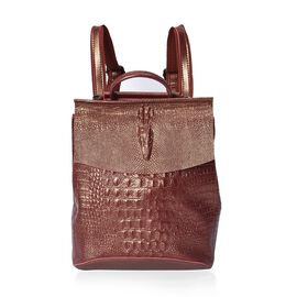 100% Genuine Leather Croc Embossed Backpack (Size 36x33x13 Cm) - Brown