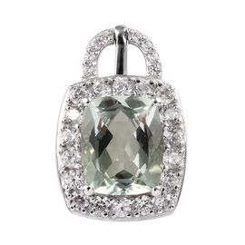 5.25 Ct Prasiolite and Zircon Halo Pendant in Platinum Plated Sterling Silver
