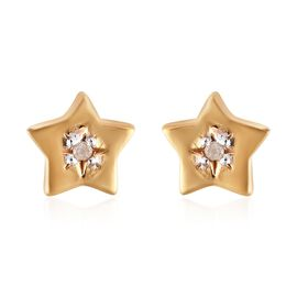 Diamond (Rnd) Star Stud Earrings (with Push Back) in 14K Gold Overlay Sterling Silver