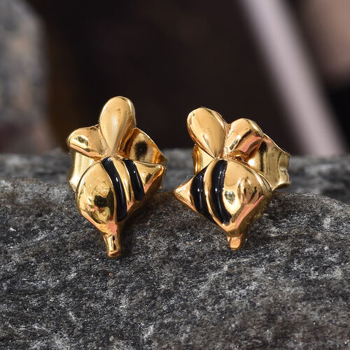 14K Gold Overlay Sterling Silver Enamelled Stud Earrings (with Push Back)