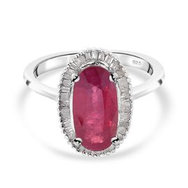 AA African Ruby and Diamond Ring in Platinum Overlay Sterling Silver 3.17 Ct.