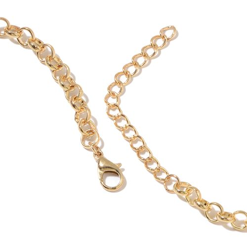 Simulated White Pearl and Simulated Diamond Flower Necklace (Size 20 with 3 inch Extender) in Yellow Gold Tone