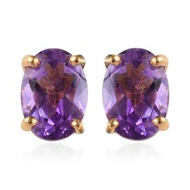 Moroccan Amethyst (Ovl) Stud Earrings (with Push Back) 14K Gold Overlay Sterling Silver 1.500 Ct.