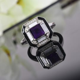 GP Art Deco Collection - Lusaka Amethyst, Natural Cambodian Zircon and Kanchanaburi Blue Sapphire Ring in Platinum Overlay Sterling Silver 1.140 Ct.