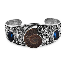 Royal Bali Collection - Ammonite Fossil and Ceylon Colour Quartz Bracelet (Size 7.25) in Sterling Si