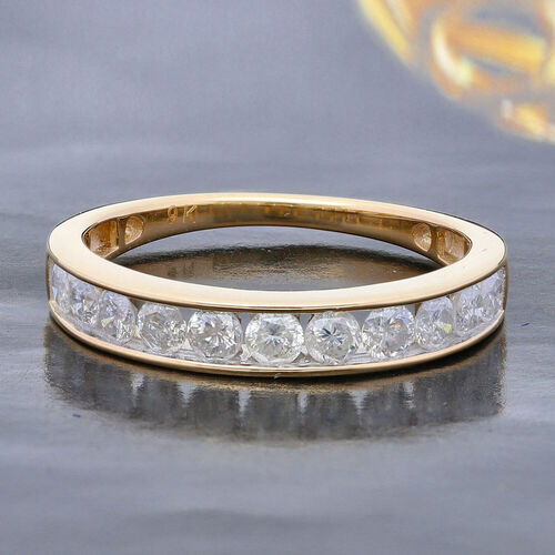 9K Yellow Gold SGL Certified Natural Diamond (I3/G-H) Half Eternity Band Ring 1.00 Ct.