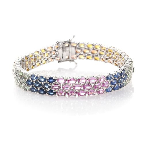 Pink Sapphire (Ovl), Kanchanaburi Blue Sapphire, Orange Sapphire, Green Sapphire and Yellow Sapphire Bracelet (Size 7.5) in Platinum Overlay Sterling Silver 31.750 Ct.