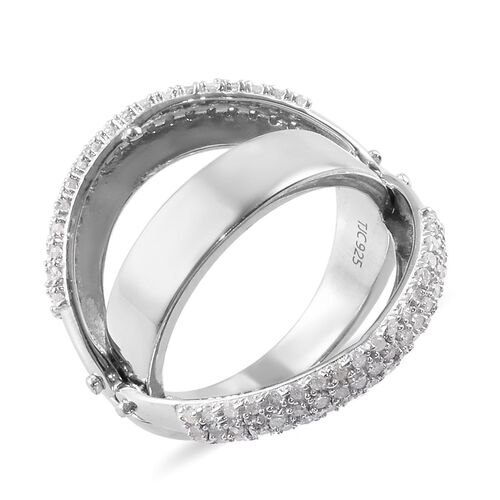 GP - Diamond and Blue Sapphire Openable Multi Row Band Ring in Platinum Overlay Sterling Silver 0.52 Ct, Silver wt 5.75 Gms
