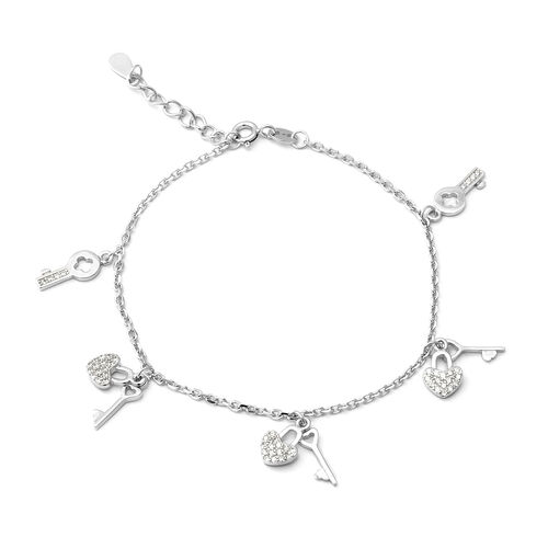 ELANZA Simulated Diamond (Rnd) Adjustable Bracelet (Size 7 with 1 inch Extender) in Rhodium Overlay