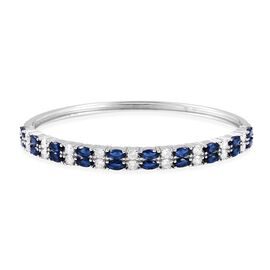 Simulated Blue Sapphire and Simulated Diamond Bangle in Silver Tone Size 7.5 Inch