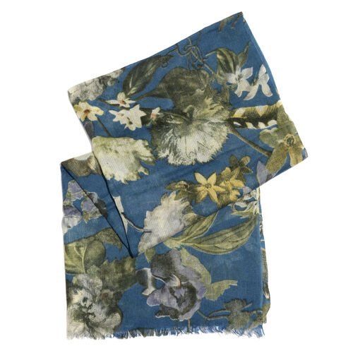 100% Merino Wool Blue, Green and Multi Colour Floral and Leaves Printed Scarf with Fringes (Size 170X70 Cm)