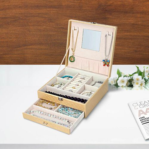Embossed Checker Pattern 2-Layer Jewellery Box in Beige