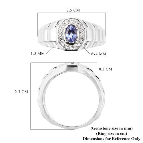 Tanzanite and Natural Cambodian Zircon Ring in Rhodium Overlay Sterling Silver 1.00 Ct, Silver wt. 6.20 Gms