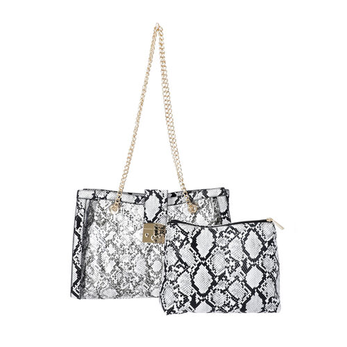 New Arrival- 2 Piece Set Python Skin Pattern Tote Bag (Size 35x10x24cm) with Chain Strap and Pouch B