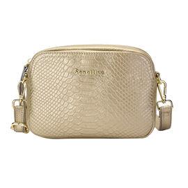 SENCILLEZ 100% Genuine Leather Snakeskin Pattern Crossbody Bag with Detachable Strap and Zipper Clos