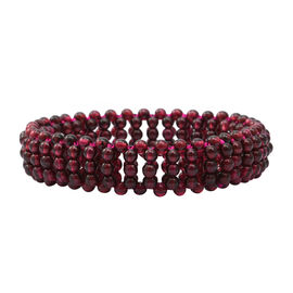 One Time Deal- Rhodolite Garnet (Rnd) Bead Bracelet (Size 7 Stretchable)  90.000  Ct.