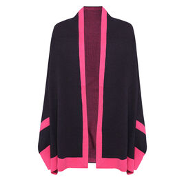 Kris Ana Coloured Border Cardigan One Size (8-20); L=70 Cm - Navy and Fuchsia