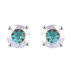 Mercury Mystic Topaz (Rnd) Stud Earrings (with Push Back) in Platinum Overlay Sterling Silver 3.000 Ct.