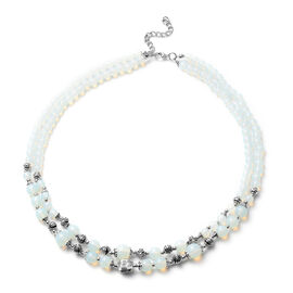 Opalite Two Row Beads Necklace (Size 18 with 2 inch Extender) in Silver Tone 245.00 Ct.