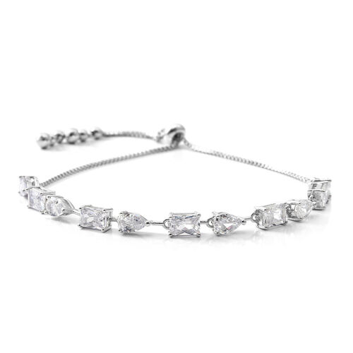 ELANZA Simulated White Diamond (Oct and Pear) Adjustable Bracelet (Size 6.5 to 9.5) in Rhodium Plated Sterling Silver, Silver wt 5.60 Gms.
