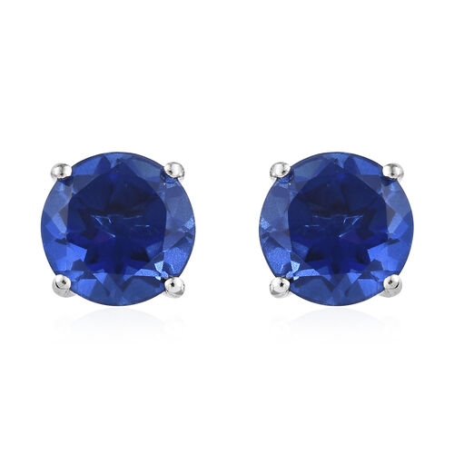 Alexandria Quartz (Rnd) Stud Earrings (with Push Back) in Platinum Overlay Sterling Silver 8.250 Ct.