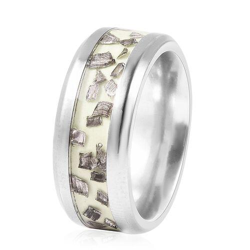 Meteorite Glow in the Dark Grey Titanium Ring 1.00 Ct
