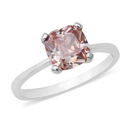 ELANZA Swiss Star Light Green Morganite Cubic Zirconia Solitaire Ring in Rhodium Plated Silver