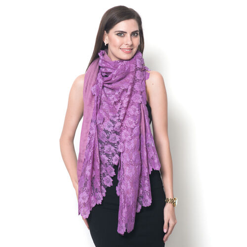 Hand Knitted - (50% Mulberry Silk and 50% Merino Wool) Purple Colour Scarf with Floral Lace Border (