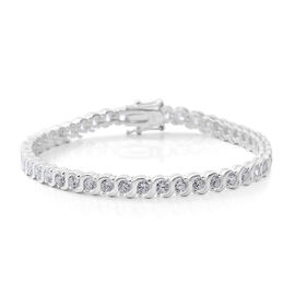 AAA Simulated Diamond (Rnd) Bracelet (Size 7.25) in Sterling Silver, Silver wt 11.90 Gms.