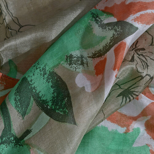 100% Mulberry Silk Green, Red and Multi Colour Handscreen Floral Printed Scarf (Size 170X50 Cm)