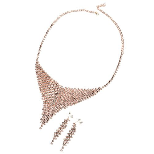 2 Piece Set - White Austrian Crystal (Rnd) Necklace (Size 22) and Earrings in Rose Plated