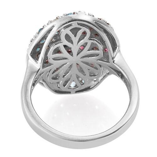 Rhodolite Garnet (Rnd), Signity Pariaba Topaz Ring in Platinum Overlay Sterling Silver 2.250 Ct.