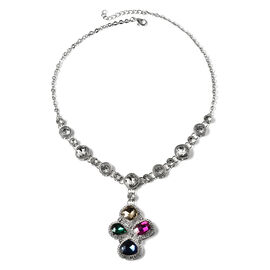 Simulated Multi Gemstone and White Crystal Necklace (Size - 20) in Silver Tone